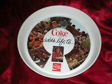 "NEW 1970'S COCA COLA ROUND THERMO-SERV ""COKE ADDS LIFE TO"" VINTAGE TRAY"