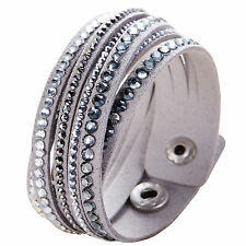 Crystal Closure Cuff Rhinestone Slake Deluxe Grey Bracelet Swarovski Element