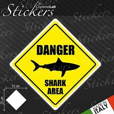 Adesivo Stickers Segnale Sign SHARK DANGER a bordo auto moto