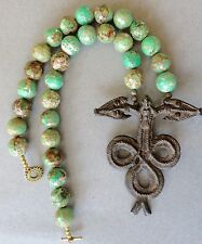 Ethnic Design Necklace/Rare Faceted Turquoise Beads/Bronze Gan Snake Pendant