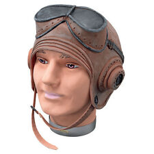 ADULT BIGGLES #HELMET WW1 PILOT RUBBER FLYING HAT FANCY DRESS ACCESSORY
