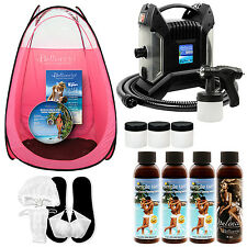 ULTRA PRO Sunless Airbrush SPRAY TANNING SYSTEM 4 Simple Tan Solutions PINK TENT