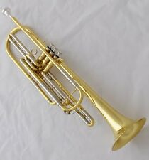 Professional Quaity Gold Bass Trumpet horn 3 Piston Bb Key With Case Free ship