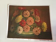 M. R. BEBB  Bowl Of Zinnias 96/150.  1949 Silk COLOR ETCHING Picture