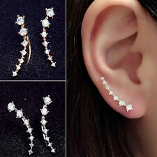 1 Pair Clear Crystal CZ Rhinestone Silver Cuff Hook Wrap Earrings Jewelry