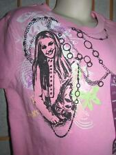 New Girls Disney Pink Hannah Montana Shortsleeve Cotton T Shirt Tween Fit S 7/8