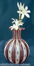 VTG MURANO RIBBON LATTICINO GLASS VASE CRANBERRY SO LOVELY!