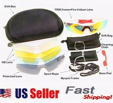 D&H Black Sport Hiking Cycling Sunglasses Eyewear UV400 5Lens 2 Pair Leg Gloves