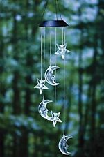 Solar Wind Spinner Color Changing Clear Star & Moon Wind Chime Light Mobile