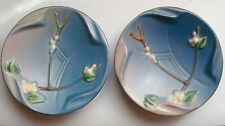 """ROSEVILLE POTTERY SNOWBERRY PATTERN 2 ASHTRAYS OR SMALL DISHES BLUE 5"""" DIAMETER"""