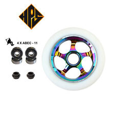 2X PRO STUNT SCOOTER CYCLONE NEO CHROME METAL CORE WHEELS 100mm ABEC 9 BEARING
