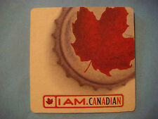 Beer Coaster ~  ~ MOLSON Lager Biere ~ I Am Canadian ~ Red Maple Leaf Cap Design