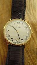 Montre suisse vintage homme ETERNA CLASSIC QUARTZ pl OR date bracelet lézard