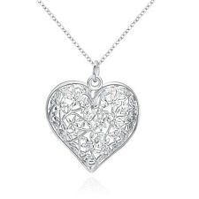 New products 925 silver filling Heart Pendant Necklace Christmas Gifts Chain 1MM