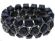 BLACK FACETED CUBE LUCITE BEAD SILVER TONE LINK CHUNKY STRETCH BRACELET