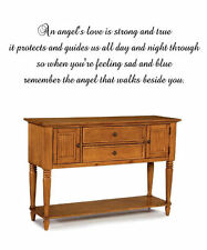 An angels love is strong and true it protects Vinyl Wall Stickers Decor Letters