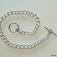 "Charm bracelet chain blanks 7.5"" with flower toggle clasp  X 12 silver plated"