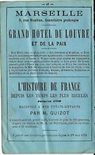 Stampa antica pubblicità GRAN HOTEL DU LOUVRE Marseille e altro 1870 Old print