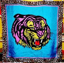 Betsey Johnson VINTAGE Dress Scarf BIG CAT Silk TIGER Pop Art LEOPARD Blue 36""