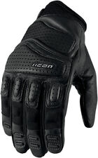 ICON Super Duty 2 Perforated Short Gauntlet Motorcycle Gloves (Black) L (Large)