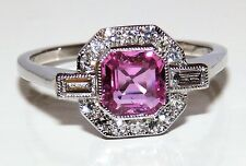 ART DECO 18CT WHITE GOLD BAGUETTE DIAMOND SQUARE PINK SAPPHIRE CLUSTER RING