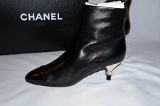 CHANEL 2016 $1300 16B black Booties boots shoes heels pumps 35 5