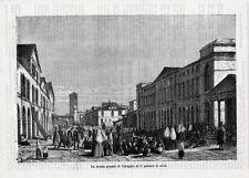 Stampa antica CHIOGGIA veduta della Piazza Grande con folla 1876 Old print