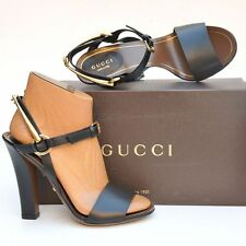 GUCCI New sz 38.5 - 8.5 Designer Horsebit $830 Black Womens Sandals Heels Shoes
