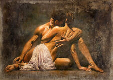 Fine Oil painting portraits romantic young lovers warm kiss no framed canvas