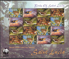 St Lucia 2001 WWF/Endangered Birds/Nature 16v sht b2104
