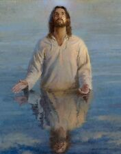 Morgan Weistling THE REFLECTION OF GOD 14x11 double matted Jesus Christ baptism