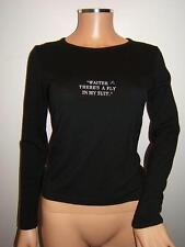 """MOSCHINO 4 6 RARE 80's """"WAITER THERE IS A FLY IN MY SUIT"""" Womens Top Wool Shirt"""