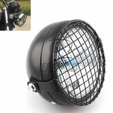 "6.5"" Motorcycle Headlight + Metal Grill Cover for Harley Yamaha Honda Choppers"