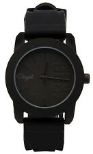 Mens Black/Black 0123 Fashion Casual Silicone Quartz Wrist Watch Watches ONK1
