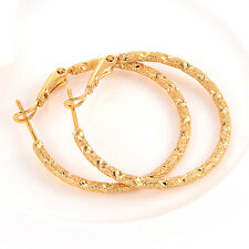 womens Gorgeous earings 18k Authentic yellow gold filled Frosted hoop earrings