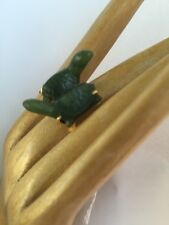 R14 antique JADEITE RINGun-treated DEEP GREEN size 7 STERLING/14k pr TURTLES