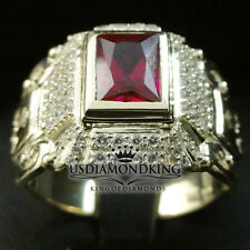 ELEGANT SIMULATE RED RUBY MEN'S RING 10K REAL YELLOW GOLD LAB DIAMONDS 7 Grams