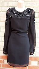 NEXT BEADED FLORAL PARTY EVENING ELEGANT BLACK SHIFT LONG SLEEVE SMOCK DRESS 10