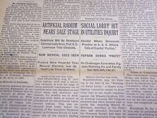 1935 AUGUST 23 NEW YORK TIMES - ARTIFICIAL RADIUM NEARS SALE STAGE - NT 4905