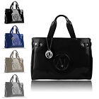 Borsa shopping bag ARMANI JEANS vernice nero | blu | grigio | grigio koala