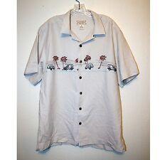 Men's, Vintage Car, Beach, Button Front Shirt by Boca Classics,100% Silk, Size M