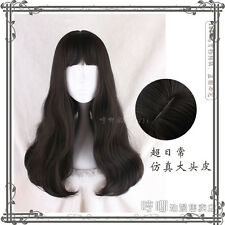 Japanese Harajuku Sweet Lolita Elegant Black Daily Long Curly Princess Wig 68cm