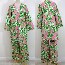Vtg 70s MOD LILLY PULITZER Pink Green Floral TUNIC TOP + PALAZZO PANTS M/L