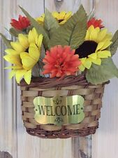 Autumn Fall Fiber Optic Floral Harvest Welcome Basket Wall Decor Floral Wall Art