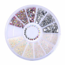 4 Colors DIY Nail Art Tips Charm Gems Crystal Glitter Rhinestones 3D Decor Wheel