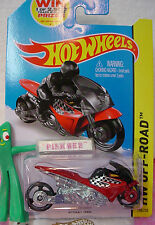 Case J/k 2014 Hot Wheels STREET NOZ motorcycle #130 US~Red-Orange~Win~Off-Road