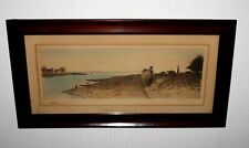 Vintage 1800's Art, Signed Robert Moresby Enhanced WATERCOLOR Engraving, Frame