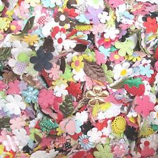 100 pc x Assorted Flower/Plant Padded Appliques/Felt/Satin/Velvet/Gingham - AF1