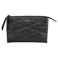 Lanvin Sugar Small Cosmetic Leather Pouch - Black