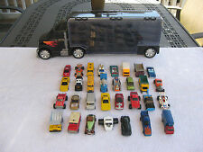 Tractor Trailer Car Case  & Lot of 32 Hot Wheels & Matchbox 1:64 Scale Vehicles